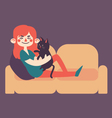 Girl Holding her Pet Cat on Sofa vector image vector image