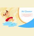girl in lifebuoy hot summer vacation sea and vector image