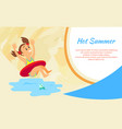 girl in lifebuoy hot summer vacation sea vector image
