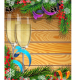 Glasses of champagne and Christmas tree branches vector image vector image
