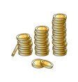 golden coins stacks isolated vector image