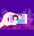 hand holding smartphone taking selfie of young vector image vector image