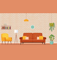 home interior room with sofa armchair bookshelves vector image