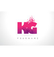 kg k g letter logo with pink purple color and vector image