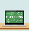 laptop with e-learning concept on screen vector image