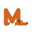 letter m is dog pet font dachshund alphabet vector image vector image