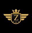 letter z shield wing vector image vector image