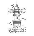 lighthouse building on the rock vector image