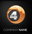 number four logo symbol in golden-silver circle vector image vector image