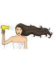 object on white background a girl with long hair vector image vector image