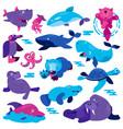 ocean animal cartoon animalistic character vector image vector image