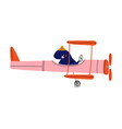 octopus pilot flying on retro plane in sky vector image vector image