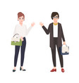 pair of smiling women dressed in business clothes vector image