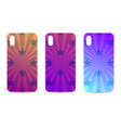 phone case set with gradient backgrounds rays and vector image