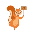 Red Squirrel Holding Wooden Sign With Acorn vector image
