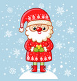 santa claus stands on a snowy meadow and holds vector image vector image