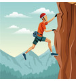 scene landscape man climbing rock mountain without vector image vector image