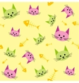 Seamless background with funny cats vector image