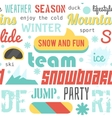 Seamless pattern with snowboarding stuff and words vector image