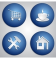 set of round blue site icons with paper cut image vector image vector image