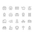 set simple icons rail transport vector image vector image