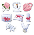 set wedding accessories isolated on white vector image