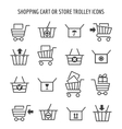shopping cart icons for web e-commerce vector image vector image