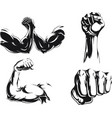 silhouette mma fighter bodybuilder arm logo vector image vector image