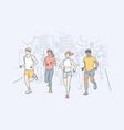 sport jogging marathon activity concept vector image