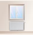 steel panel radiator under the window heating vector image vector image
