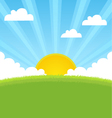 summer landscape with sun and blue sky vector image vector image
