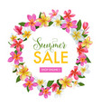 summer sale floral banner seasonal discount ads vector image vector image