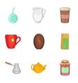 Tea icons set cartoon style vector image vector image