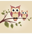 Two owls on the tree vector image vector image