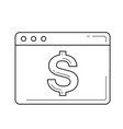 webpage with dollar sign line icon vector image vector image