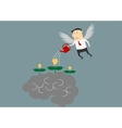 Winged businessman watering ideas on a brain vector image