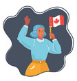 woman with national flag canada vector image vector image