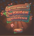 Wooden game user interface play window vector image vector image
