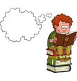 boy reading on a stack of books vector image