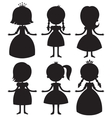 Cute cartoon princess silhouettes set vector image