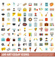 100 art essay icons set flat style vector image vector image