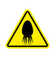 Attention cuttlefish octopus on yellow triangle
