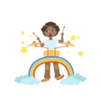 Boy Playing Drums With Rainbow And Clouds vector image vector image