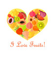 bright fruits in the heart shape vector image vector image