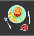 Burger french fries and cola vector image