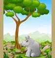cartoon rhino sitting in the jungle vector image vector image