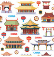 chinese oriental architecture seamless pattern vector image
