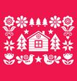 christmas scandinavian folk greeting card vector image