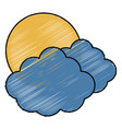 clouds and sun icon vector image vector image
