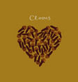 cloves spice in a heart shape on yellow vector image vector image